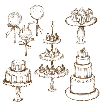 hand stand: Collection of beautiful cakes, cupcakes and cake pops