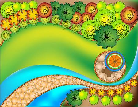 Highly detailed landscape design plan 向量圖像
