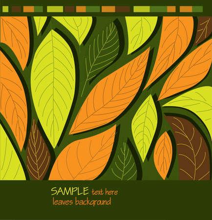Decorative ornamental leaves background. Vector illustration 向量圖像