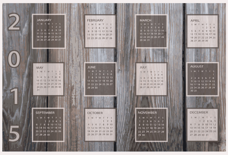 Calendar for 2015 on wood background. 向量圖像
