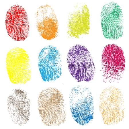 thumbprint: Set of fingerprints, vector illustration isolated on white Illustration