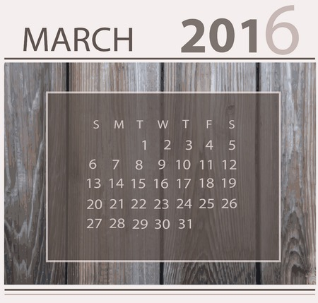 Calendar for march 2016 on wood background texture