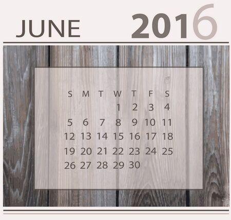 Calendar for jun 2016 on wood background texture