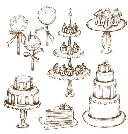 cake stand: Collection of beautiful cakes, cupcakes and cake pops