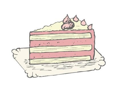 Piece of cake on plate