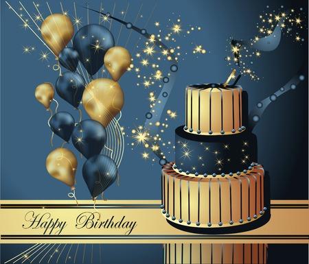 letras de oro: Ilustración vectorial de una tarjeta de felicitación del feliz cumpleaños