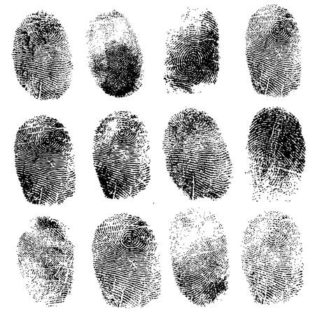 dedo: Conjunto de huellas dactilares, la ilustración vectorial aislado en blanco Vectores