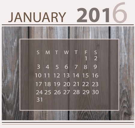 light backround: Calendar for january 2016 on wood background texture Illustration