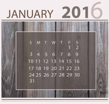 Calendar for january 2016 on wood background texture 向量圖像