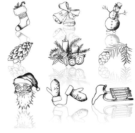 Vector set of Christmas hand drawn icons