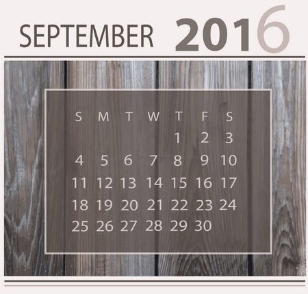 Calendar for september 2016 on wood background texture