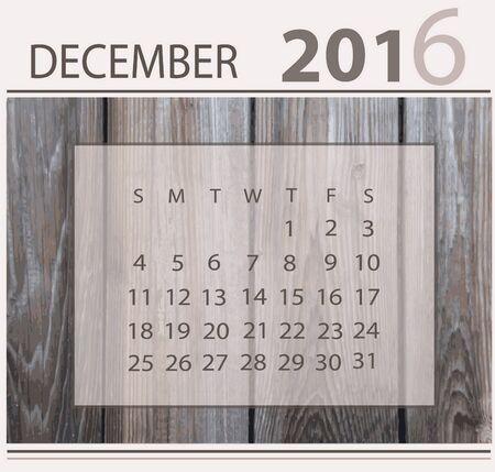 Calendar for december 2016 on wood background texture 向量圖像