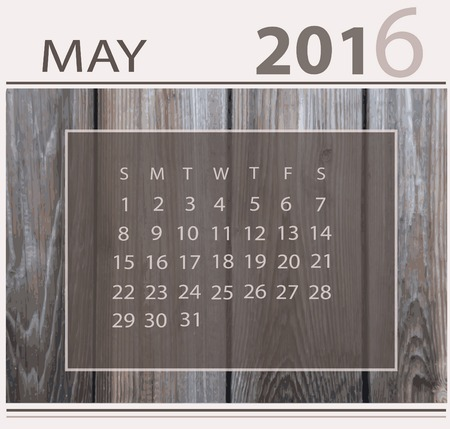 Calendar for may 2016 on wood background texture