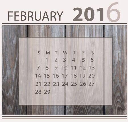 Calendar for february 2016 on wood background texture 向量圖像