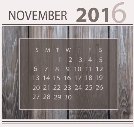 Calendar for november 2016 on wood background texture 向量圖像