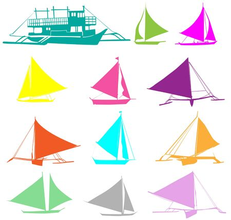 A set of silhouettes of yachts Vettoriali