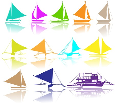 A set of vector silhouettes of yachts 版權商用圖片 - 43976579