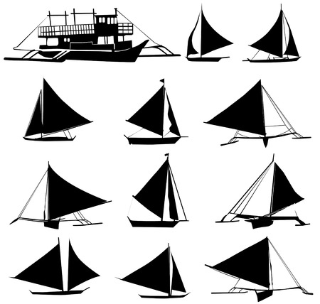 wave tourist: A set of vector silhouettes of yachts