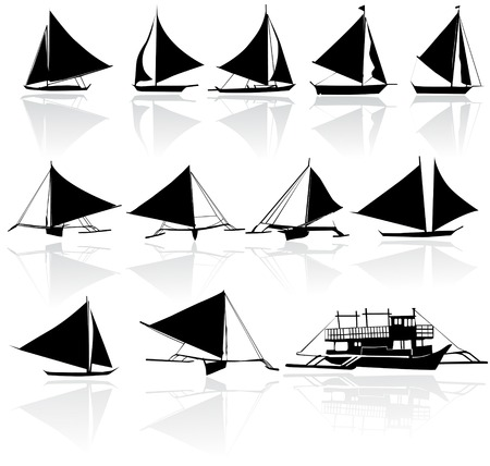 A set of vector silhouettes of yachts 版權商用圖片 - 43976581