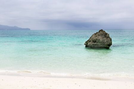 Beach with rocks in water, Boracay island
