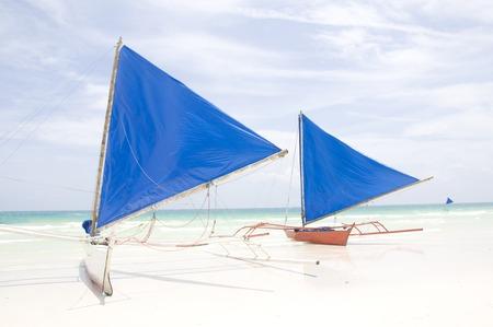 boracay: Traditional Sailboats on Boracay beach in Philippines