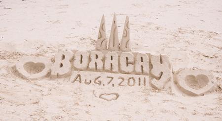 boracay: Sand castle on tropical white sand beach  in Boracay, Philippines Editorial
