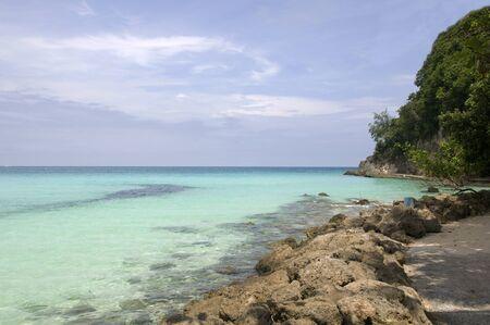 Beach with rocks in water, Boracay island