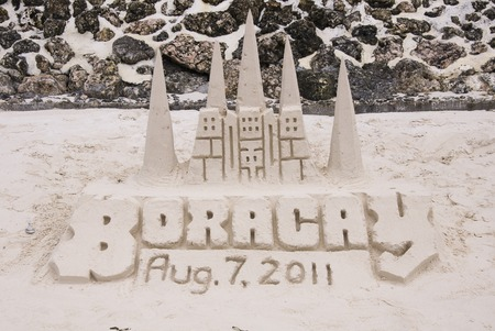 Sand castle on tropical white sand beach  in Boracay, Philippines 新聞圖片