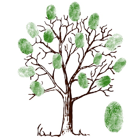 tree of knowledge: Vector illustration of tree with fingerprints