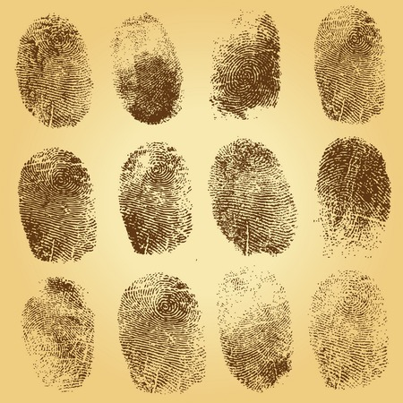 Set of  fingerprints, vector illustration isolated on vintage background