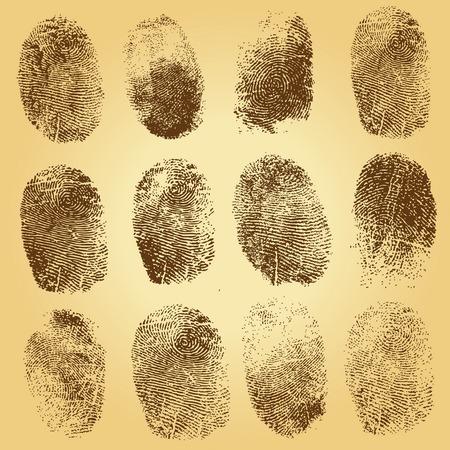 Set of  fingerprints, vector illustration isolated on vintage background