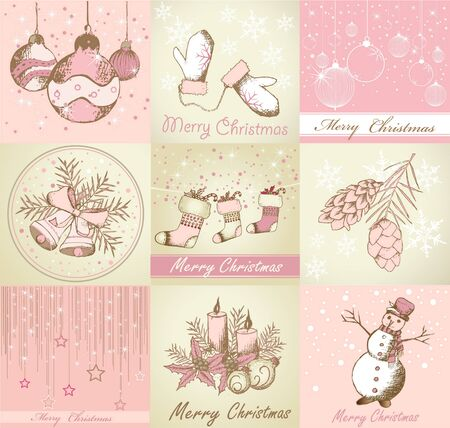 Set of Merry Christmas backgrounds and decorative elements Vettoriali