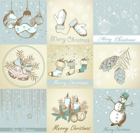 Set of Merry Christmas backgrounds and decorative elements 版權商用圖片 - 44262919