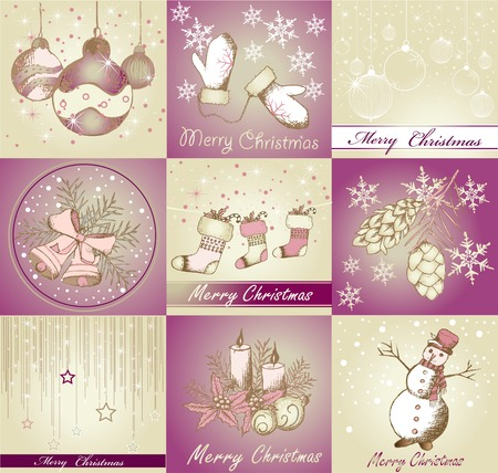 christmas backgrounds: Set of Merry Christmas backgrounds and decorative elements Illustration