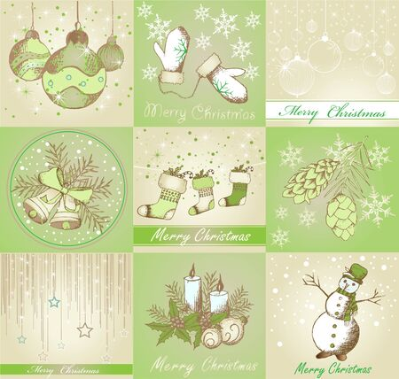 Set of Merry Christmas backgrounds and decorative elements Illustration