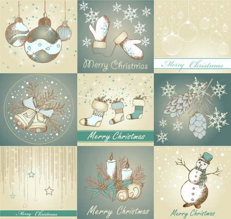 Set of Merry Christmas backgrounds and decorative elements 向量圖像