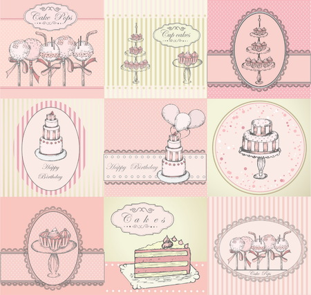 Collection of beautiful cakes, cupcakes and cake pops backgrounds