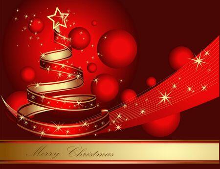 gold christmas background: Stylized ribbon Christmas tree.