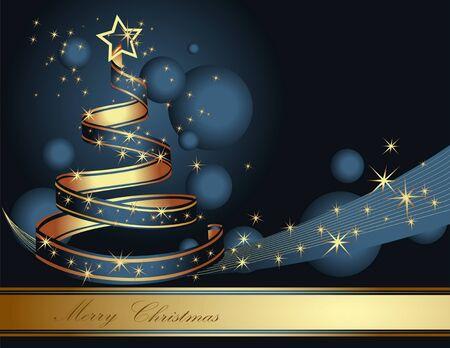 Stylized ribbon Christmas tree. Vector illustration. 版權商用圖片 - 45128395