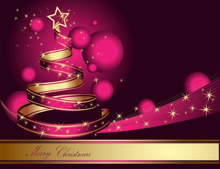 christmas tree illustration: Stylized ribbon Christmas tree. Vector illustration.