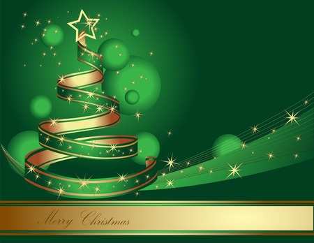 Stylized ribbon Christmas tree. Vector illustration.