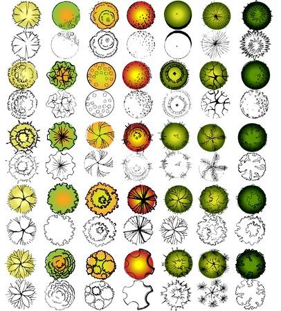 paesaggio: Insieme dei simboli di cime degli alberi, per la progettazione architettonica e del paesaggio