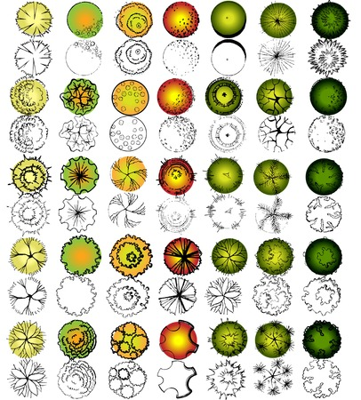 landscape architecture: Set of treetop symbols, for architectural or landscape design