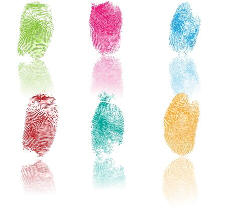 Set of fingerprints, vector illustration isolated on white 向量圖像