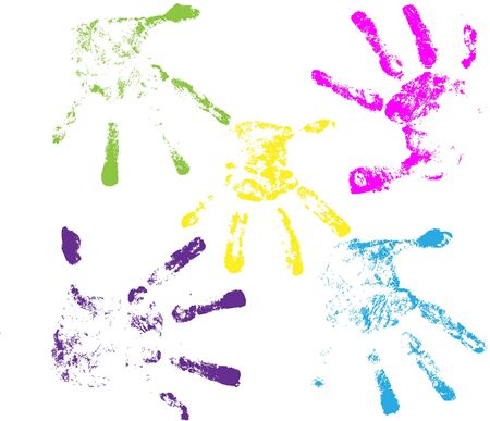 Vector handprints, isolated on white