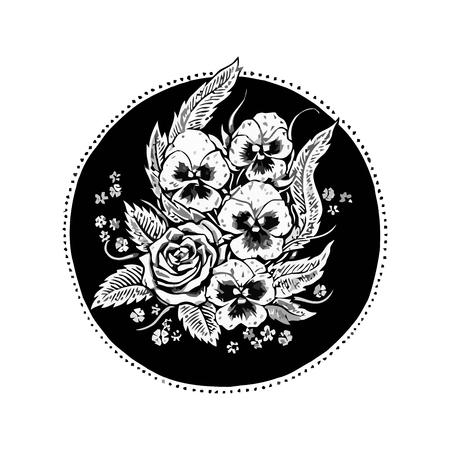 Graphic black and white flower ornament. Vector illustration. Stock Illustratie