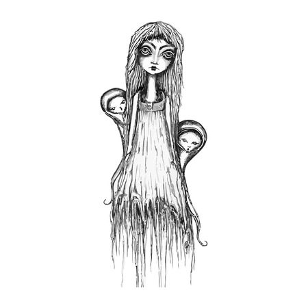 Ghostly awesome woman. Vector illustration. Stock Illustratie
