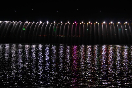 light and water fall show in korea photo