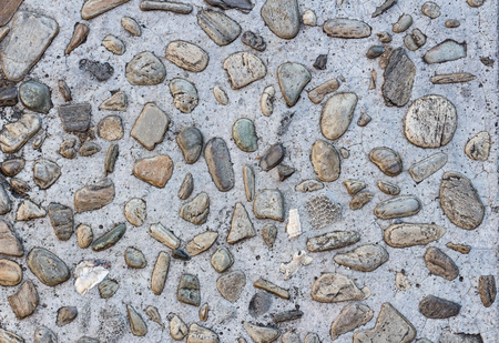 River Stone Floor Tile Place In Garden For Walk Path Stock Photo