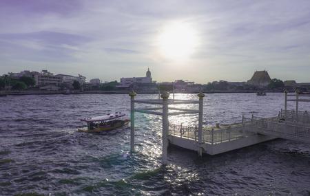 chao praya: selected focus, passenger ship in Chao Praya river Bangkok Thailand. Stock Photo